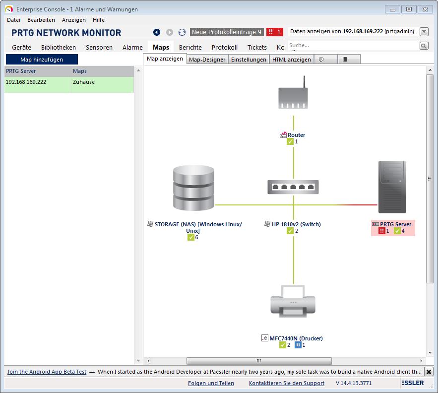 Mit PRTG kann man sich in wenige Minuten übersichtliche Netzpläne zusammenklicken. Interessant wenn man einen extra Monitor für die Überwachung locker machen kann.